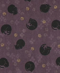 Bouffant - 144 Neko Cat Purple scrub hat